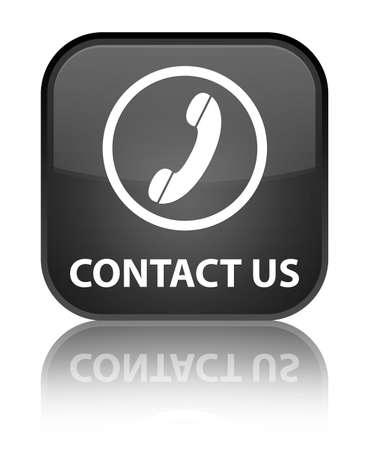 contact us phone: Contact us (phone icon round border) black square button