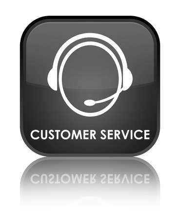 customer care: Customer service (customer care icon) black square button