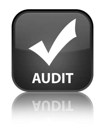 valider: Audit (validate ic�ne) bouton carr� noir Banque d'images