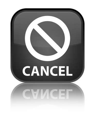 abort: Cancel (prohibition sign icon) black square button Stock Photo