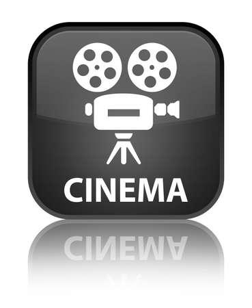 video camera icon: Cinema (video camera icon) black square button Stock Photo