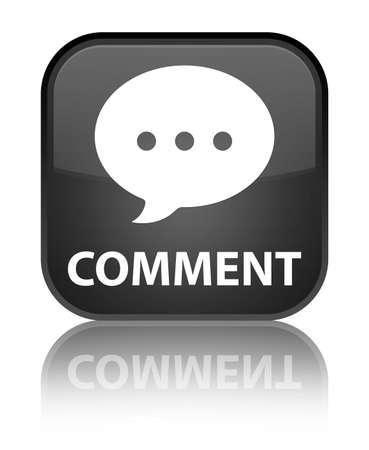 comment: Comment (conversation icon) black square button