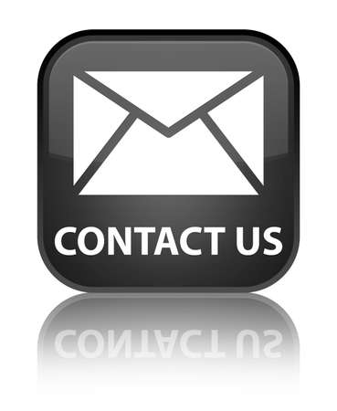 Contact us (email icon) black square button photo