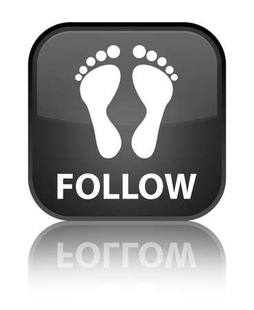 follow icon: Follow (footprint icon) black square button Stock Photo