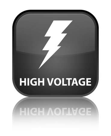 voltage: High voltage (electricity icon) black square button Stock Photo