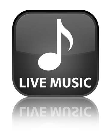 live music: Live music black square button Stock Photo