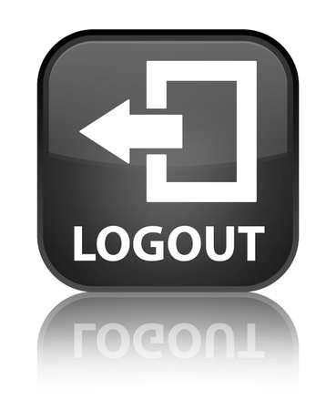 log off: Logout black square button