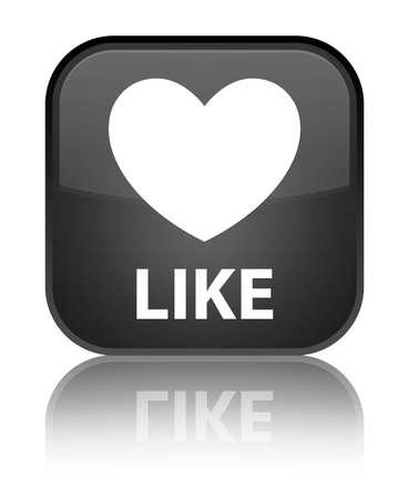 valentin's: Like (heart icon) black square button Stock Photo