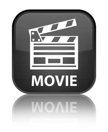 Movie (cinema clip icon) black square button photo