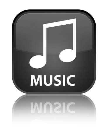 tune: Music (tune icon) black square button Stock Photo