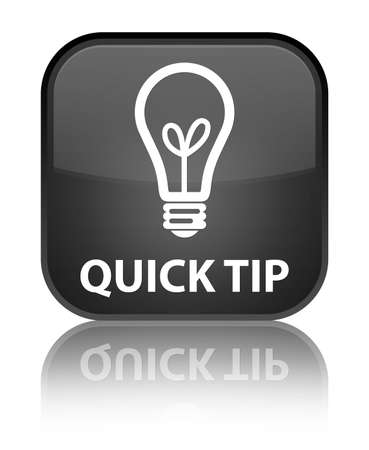 hints: Quick tip (bulb icon) black square button Stock Photo