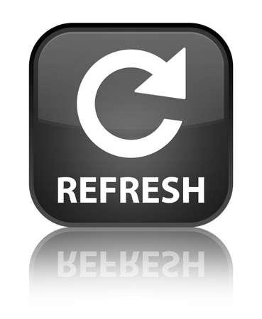 rotate icon: Refresh (rotate icon) black square button Stock Photo
