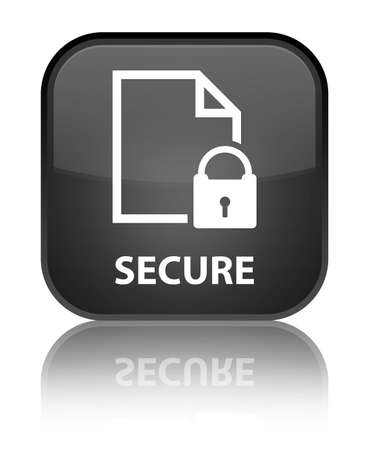 encrypted files icon: Secure (document page padlock icon) black square button Stock Photo