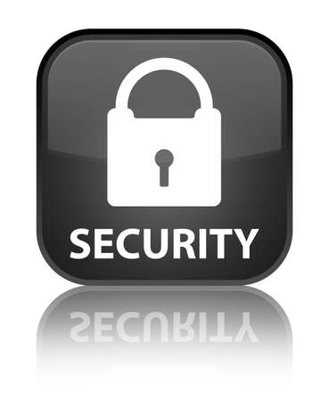 insecure: Security black square button Stock Photo