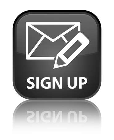 registry: Sign up (edit mail icon) black square button