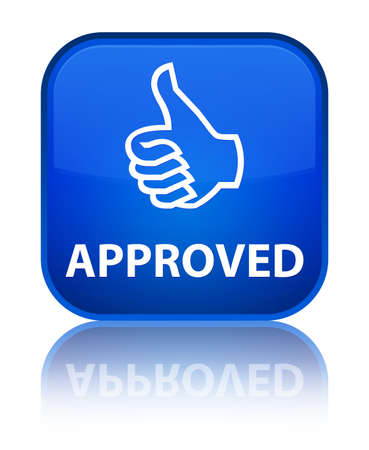 Approved (thumbs up icon) blue square button Stock Photo
