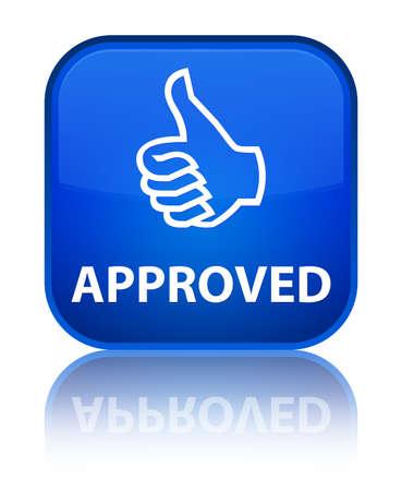 thumbs up icon: Aprobado (pulgar hacia arriba icono) bot�n cuadrado azul
