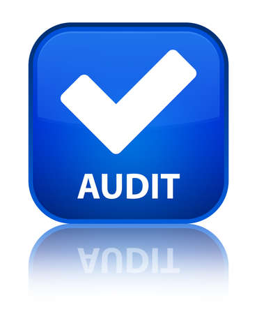 Audit (validate icon) blue square button photo