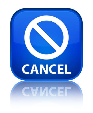cancel: Cancel (prohibition sign icon) blue square button Stock Photo