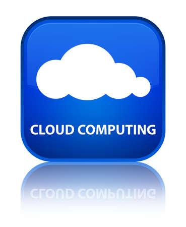 Cloud computing blue square button photo