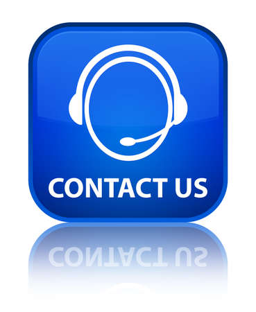 customer care: Contact us (customer care icon) blue square button