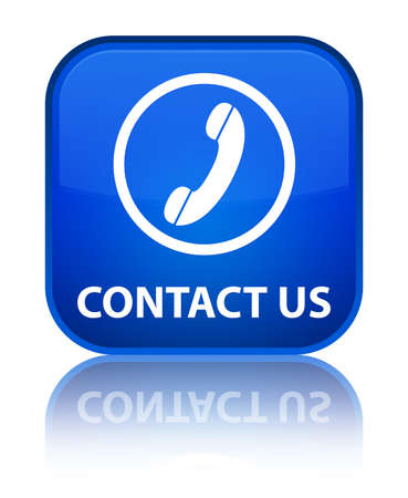 contact us phone: Contact us (phone icon round border) blue square button Stock Photo