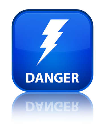 Danger (electricity icon) blue square button photo