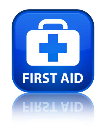 First aid blue square button photo