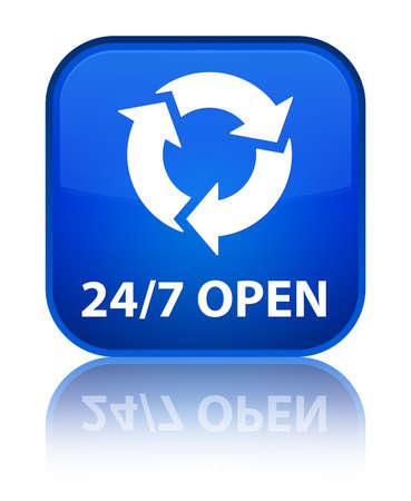 247 open (refresh icon) blue square button photo