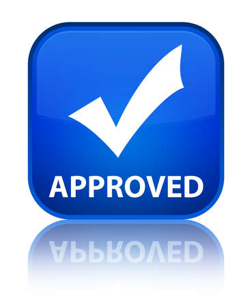 Approved (validate icon) blue square button photo