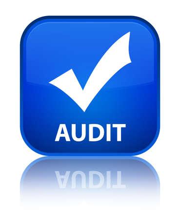 audit: Audit (validate icon) blue square button