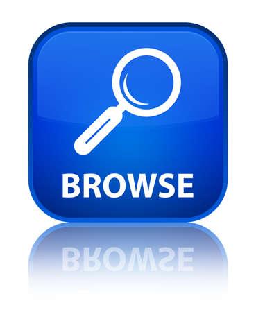 Browse blue square button photo