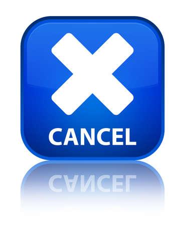 Cancel blue square button photo