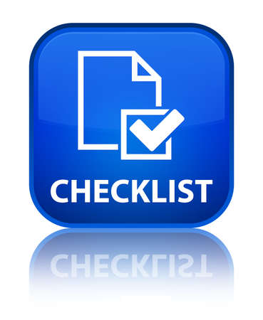 Checklist blue square button photo