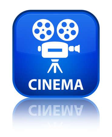 video camera icon: Cinema (video camera icon) blue square button