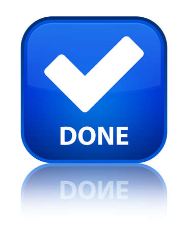 validate: Done (validate icon) blue square button Stock Photo