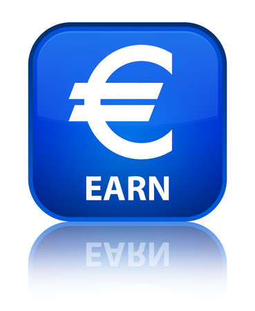 Earn (euro sign) blue square button photo