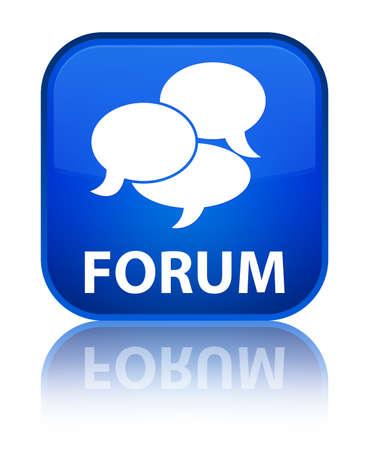 comments: Forum (comments icon) blue square button Stock Photo