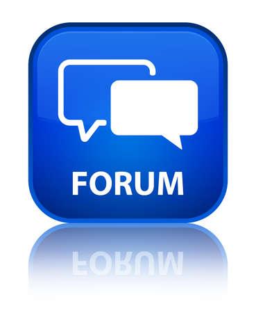 Forum blue square button photo