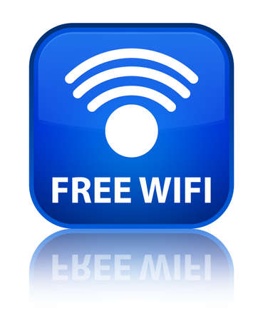 wlan: Free wifi blue square button Stock Photo