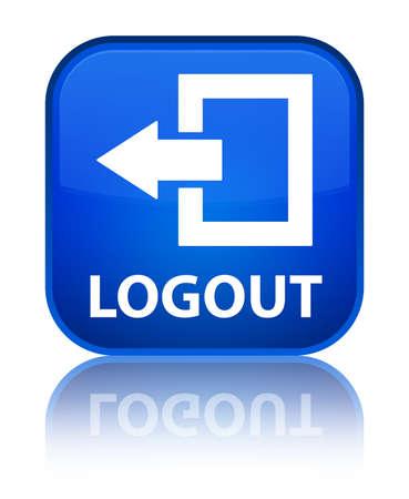 Logout blue square button photo