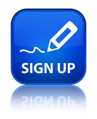 sign up: Sign up blue square button Stock Photo