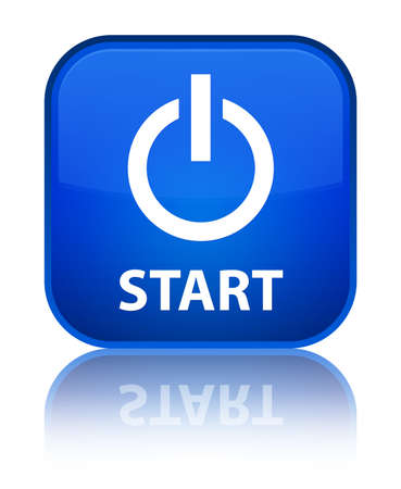 Start (power Icon) Blue Square Button Stock Photo, Picture And ...