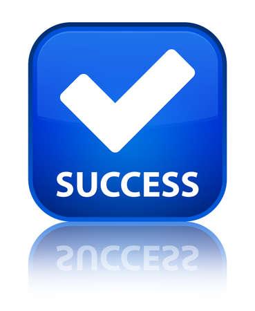 Success (validate icon) blue square button photo