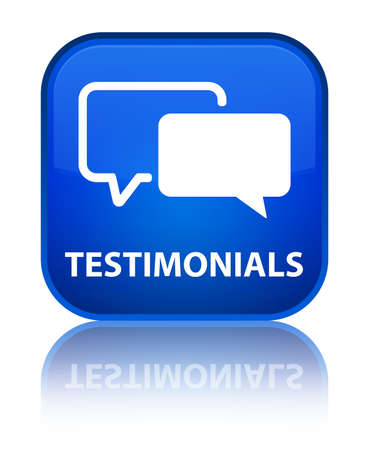 square button: Testimonials blue square button