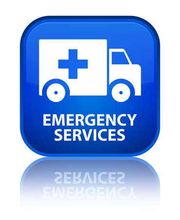 emergency services: Emergency services blue square button