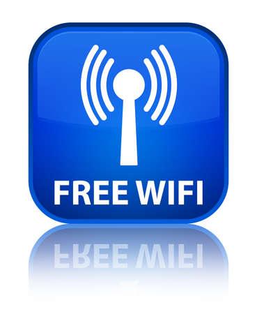 wlan: Free wifi (wlan network) blue square button Stock Photo