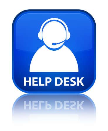 help desk: Help desk (customer care icon) blue square button Stock Photo