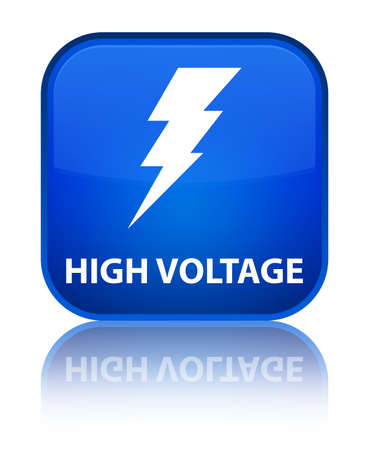 High voltage (electricity icon) blue square button photo