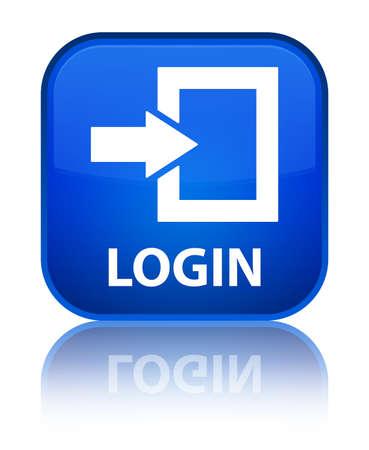 Login blue square button photo